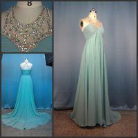 Real Photos Halter Chiffon Free Shipping Real Sample Aqua Halter Crystals Dress Empire Waist A-line Chiffon Prom Dress 2013