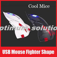 Wholesale Black White Color USB Optical Mouse Fighter Plane Mice for Computer Gift for Lover Boys Friends Kids