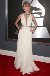 Wholesale 2013 the th Grammy Awards Red Carpet Swift Dresses Sexy Crisscross Pleated Chiffon Gowns