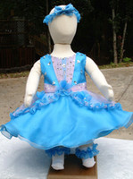 Reference Images Baby Beads Charming Jewel Beads Blue Baby's Pageant Dresses Organza Ball Gown Online Selling 2013