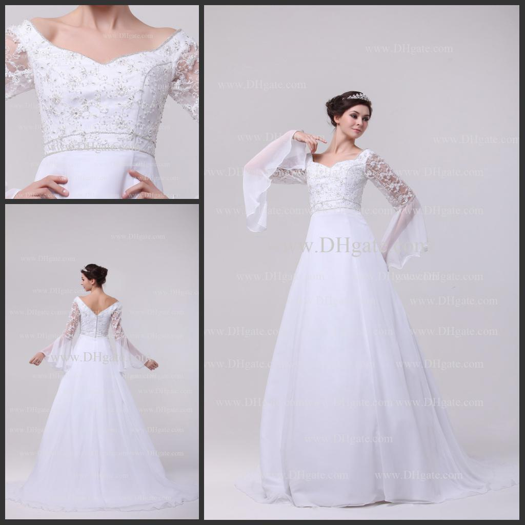 Simple Garden Lace Long Sleeves Beads Appliques Satin