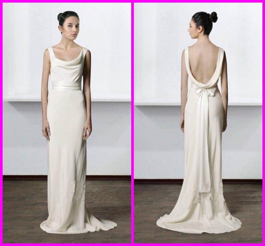 Simple Ivory Sheath Beach Wedding Dresses Court Train