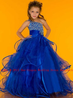 Wholesale 2013 Hot One Shoulder Cute Little Girl s Pageant Dresses Rhinestone Beads Tulle Flowers Skirt S