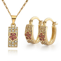 Earrings & Necklace 18k gold - lowest price Hot Sell k gold plated Necklace Earring set TS07