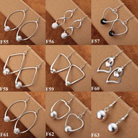 big hoop earrings with balls - Fashion jewelry Pairs Silver Big Circle with Ball Circle Earrings Multi Styles New