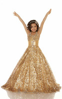 2013 Sexy New Gold Organza Girl Pageant Dresses Ball Gown Sh...