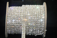 Wholesale 2 Row Clear Crystal Rhinestone Trims Close Chain Silver ss16 x yard