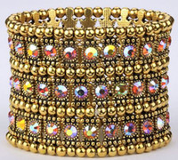 antique swarovski crystals - Hot Luxury Antique Row Row Row Etc Antique gold Red AB Swarovski Crystal Gloden Tone Stretch Bracelet