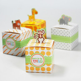Wholesale 100 Cute Animal Candy Box Born to be WILD Wedding Favors Baby Birthday Gift Boxes Monkey Giraffe