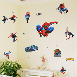 Wholesale Hot Spiderman Cartoon Boy Room x70cm sheet Nursery Mural Wall stickers PVC sticking