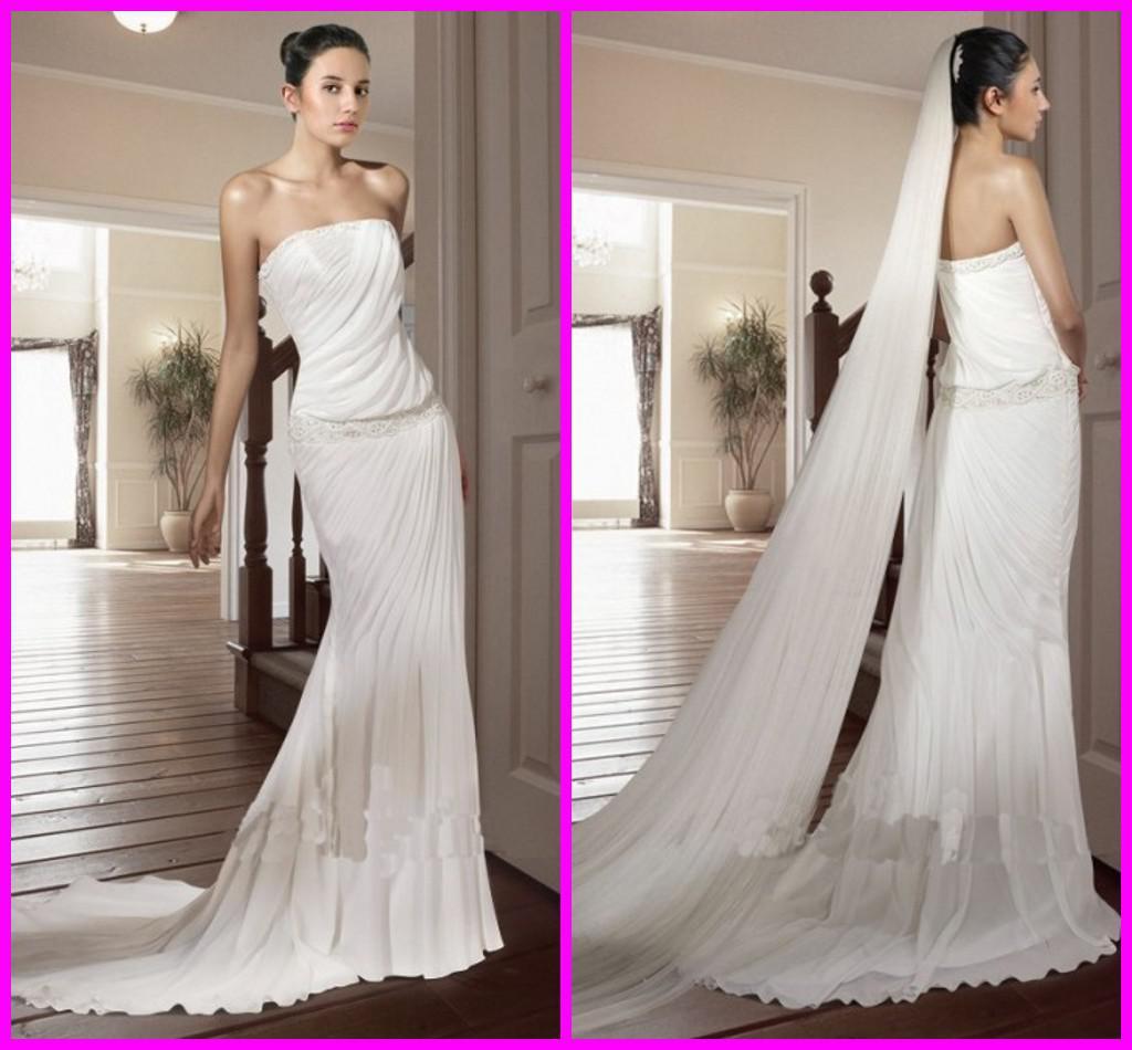 Simple Strapless Wedding Dresses 2013