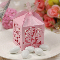 Wholesale 50 Romantic Rose Candy Boxes Pink Hollow Elegant Wedding Favors Party Gift Box