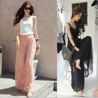 Wholesale Women s Pant Fashion Casual Elegant Divided Skirts Chiffon Wide Leg Culottes Loose Beach Trousers
