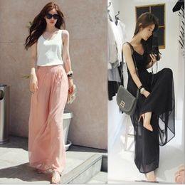 Wholesale Women s Pant Fashion Casual Elegant Divided Skirts Chiffon Wide Leg Culottes Loose Beach Trousers