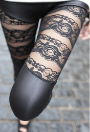 Wholesale Autumn Black Sexy Tight Leggings Roce Lace Faux Leather Patchwork Leggings Fashion Skinny Thin Pants