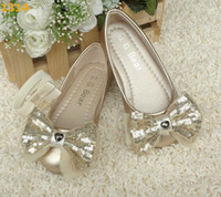 Wholesale 2013 Girls Paillette Princess Shoes Childrens Kids Flats with Elastic Band Gold Color SZ