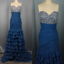 Csutomize Free Shipping Royal Blue Crystals Ruched Top Chiffon Sheath Prom Dress Evening Gown 2013