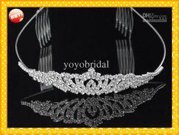 2017 En existencia Royal Crowns Brillante Cristales Real Muestra Nupcial Tiara Tiara Tiaras Accesorios para el cabello 2016 cabeza Tiara Crystals Bead 2017