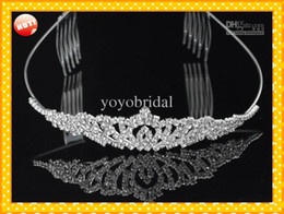 Wholesale 2016 In Stock Royal Crowns Shiny Crystals Real Sample Bridal Wedding Tiara Tiaras Hair Accessories head pieces Tiara Crystals Bead