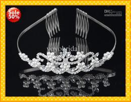 Wholesale Romantic In Stock shiny Crystal Pearl Crown Real Bridal Wedding Tiara Tiaras Hair Accessories Headpiece Tiara Cheap New