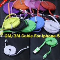 Wholesale 2M M pin Flat colorful Noodle cable Data Sync USB charger line for iphone5 iphone ipad mini