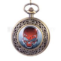 Livraison gratuite! Rouge crâne tête de bronze antique montre de poche LPW136