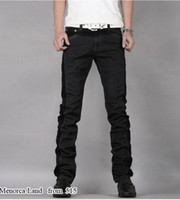 Wholesale men Black straight leg slim jeans jeans low waist solid color jeans Size Free Ship
