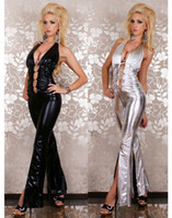 Wholesale Erotic Leather Lingerie Sexy Jumpsuits For Womens PVC Bodysuit Front Diamond Connect Vinly Club Jumpsuit Party Clubwear Black Silver CB9340