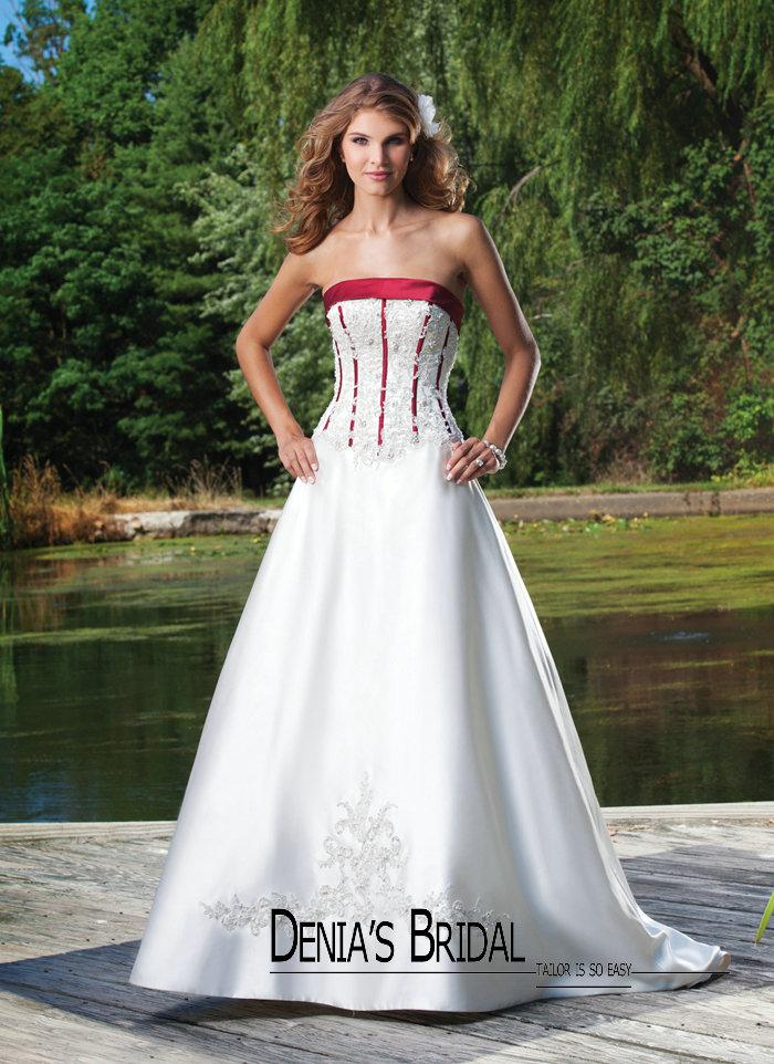 Red And White Wedding Dress Buy : New arrival red and white wedding dress strapless boned