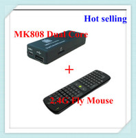 Wholesale Freeshipping Dual core android tv box Mk808 GHZ RC11 Fly Air Mouse