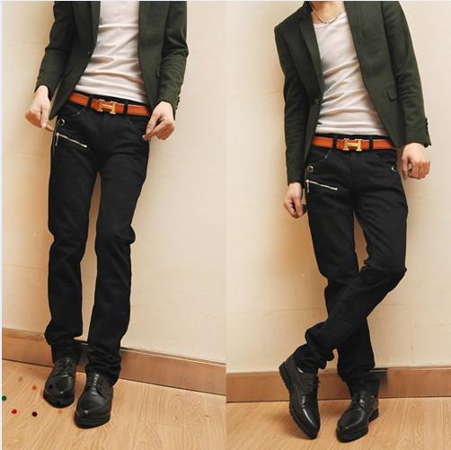 2017 Men's Fashion Skinny Winter Black Leather Trousers Denim ...