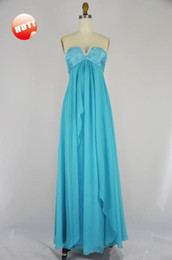 Wholesale In Stock Blue V neck Chiffon Empire Ruffles Crystals Long Bridesmaid Evening pageant Dresses Dress