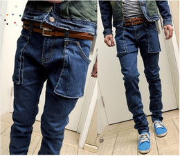 Wholesale NEW Skinny Jeans Men Harem Big Pockets Denim Trousers Size28 Free Ship