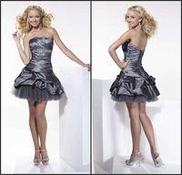 Wholesale Hot Taffeta Mini Short Wonderful Fashion Ruffle Fashion Strapless Sheath Gray Cocktail Party Dresses