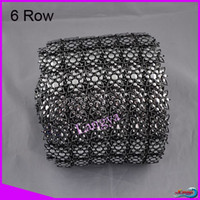 Wholesale A10343 Sew on row High quality Plastic mesh trimming mm gun black base y roll CPAM free For Gar