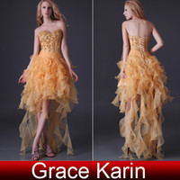 Wholesale Grace Karin New Sexy Strapless Hi lo Prom Lace Up Dresses Sequins Party Gown Evening Dress CL3848