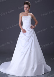 Wholesale Sexy Strapless Floor Length Sequins Satin Bridal Wedding Dress CL3849