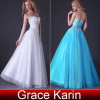 Tulle+Satin dress blue grace - Grace Karin New Arrival Shining Beading Corset style Party Prom Gown Evening Dresses Size US CL3519
