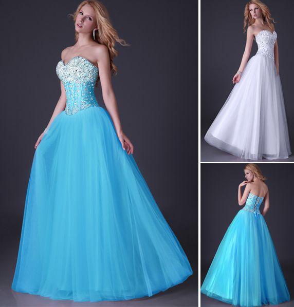 Grace Karin New Sequins Corset Bodice Long Tulle Prom Dresses Ball ...