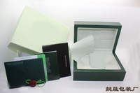 Wholesale high quality Wooden Box Green Watchs Boxes Gift Box Crown logo Wooden box with Brochures cards Wooden box glitter2009