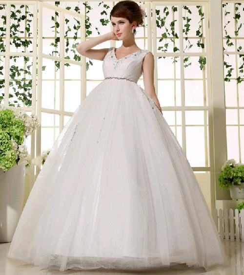 Beautiful Women Marriage Gauze V Neck High Waist Dress Pregnant ...