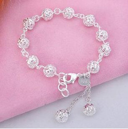 Sterling Silver Bracelet female models hollow love exquisite ball bracelet