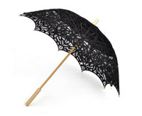 Wholesale vintage black handmade gothic lolita cotton SUN BATTEN victorian LACE PARASOL UMBRELLA H108
