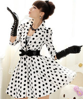 Wholesale New Arrival Fashion Women Long Trench Coat Black Color and White Dot Outwear Spring Autumn Winter