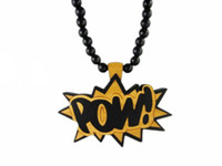 Wholesale Good wood nyc pow pendant necklace wooden plaque hiphop