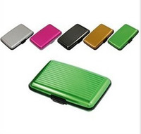 Wholesale Aluminium Credit card wallet cases card holders bank case aluminum wallet with white box A