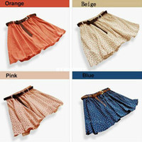Wholesale 4 Colors Pleated Floral Chiffon Women Ladies Cute Mini Skirt Belt Include