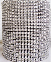 Wholesale 4 quot x yd Diamond Mesh Rhinestone Crystal Bling Ribbon Wrap Roll Silver