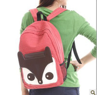 Wholesale 2013 New Arrival Korean Fashion Cute Fox Cartoon Canvas Backpack School Bag Leisure Tote Backpacks