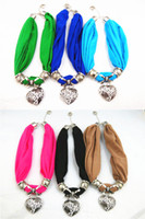 Wholesale 2013 Fashion Heart Pendant Short Scarf Jewelry Beads Bib Scarf Lady Polyester Scarf